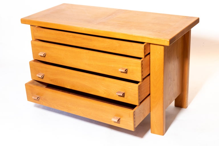 Pierre Chapo Chest of Drawers with Leather Pulls, France, 1960s In Good Condition For Sale In New York City, NY