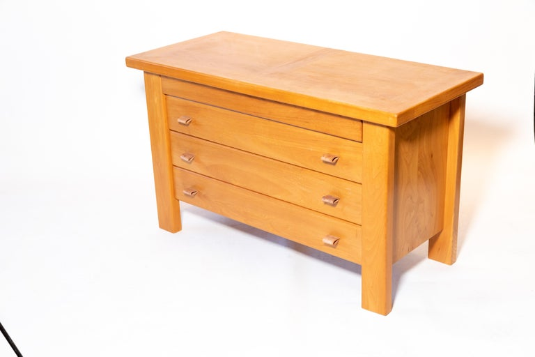 Pierre Chapo Chest of Drawers with Leather Pulls, France, 1960s For Sale 1