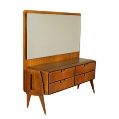 Chest of Drawers with Mirror Mahogany Veneer Vintage Italy, 1950s