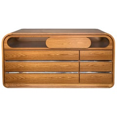 Chest of Drawers Wood and Stainless Steel by Mario Sabot, Italy, 1970s