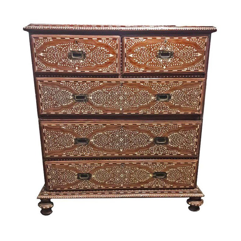 Chest of Drawers, Bone-Inlaid with Marble Top from India, 20th Century