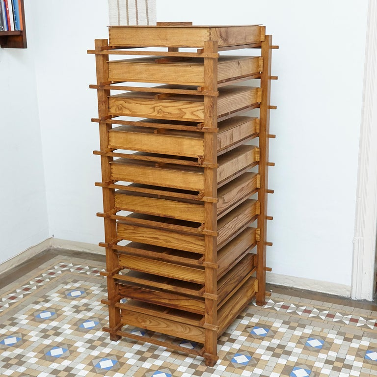 Dutch Chest of Mid-Century Modern Wood Drawers after Gerrit Rietveld, circa 1970 For Sale