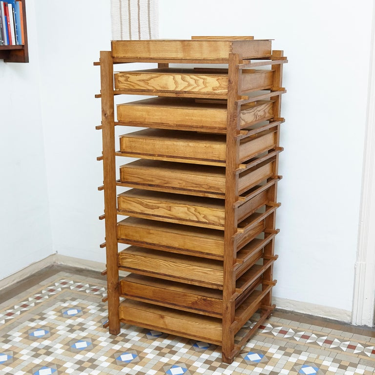 Late 20th Century Chest of Mid-Century Modern Wood Drawers after Gerrit Rietveld, circa 1970 For Sale