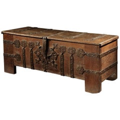 Chest or Stollentruhe, Early 16th Century, German Gothic, Oak Chest, Original