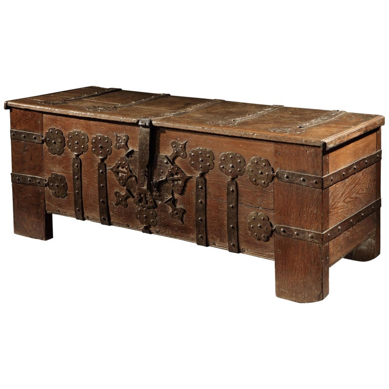Chest or Stollentruhe, Early 16th Century, German Gothic, Oak Chest, Original For Sale