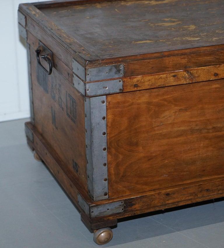 Chest Trunk Ottoman Coffee Side Table On Wheels Internal
