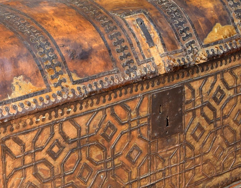 18th Century and Earlier Chest with Geometric Design, Leather, Iron, Spain, circa 1500 For Sale