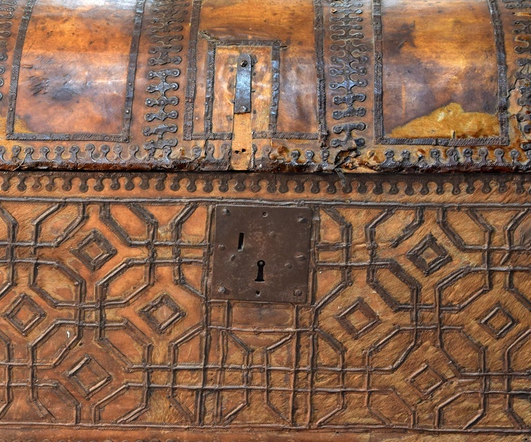 Other Chest with Geometric Design, Leather, Iron, Spain, circa 1500 For Sale