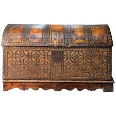 Chest with Geometric Design, Leather, Iron, Spain, circa 1500