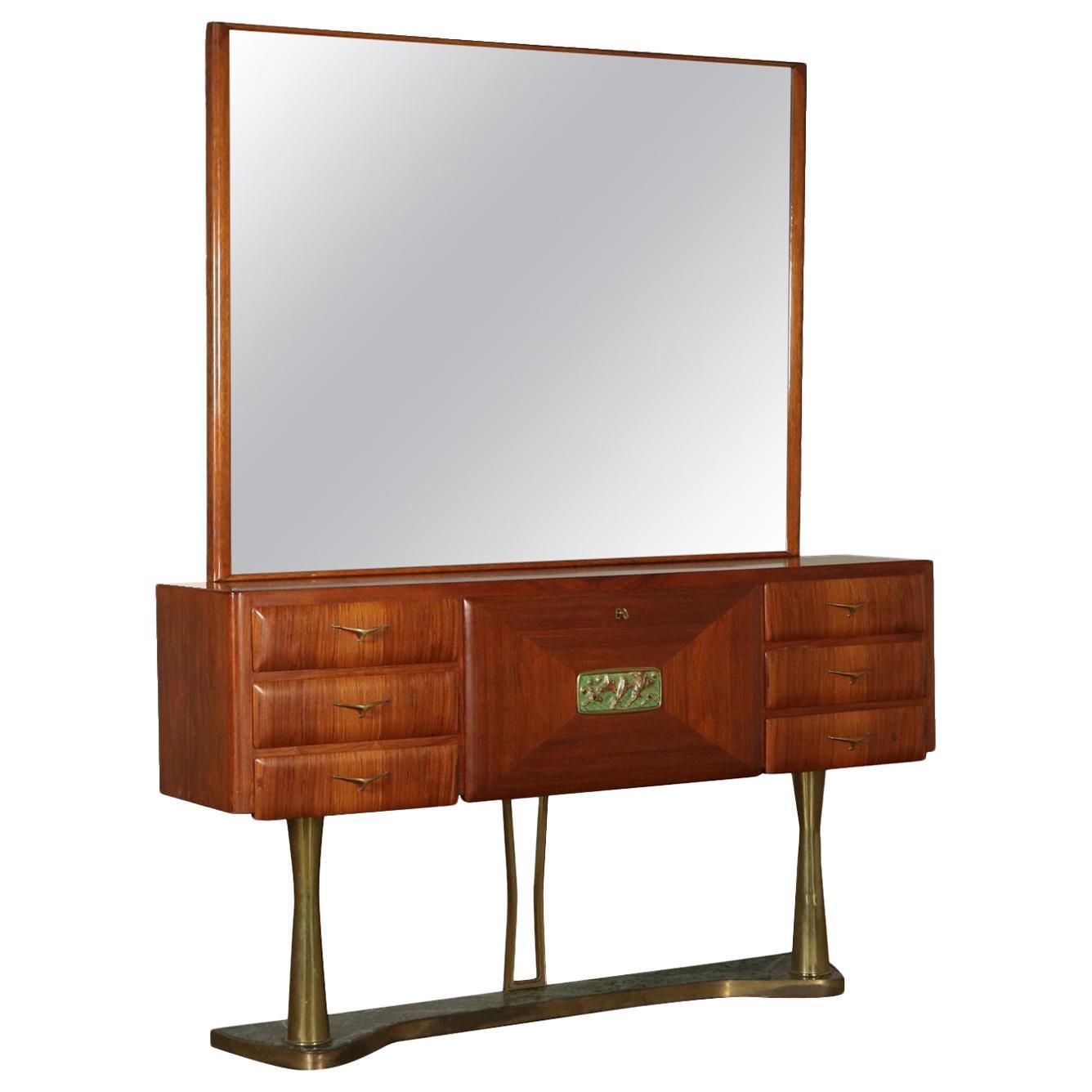 Chest with Mirror Teak Veneer Brass Vintage Italy 1950s