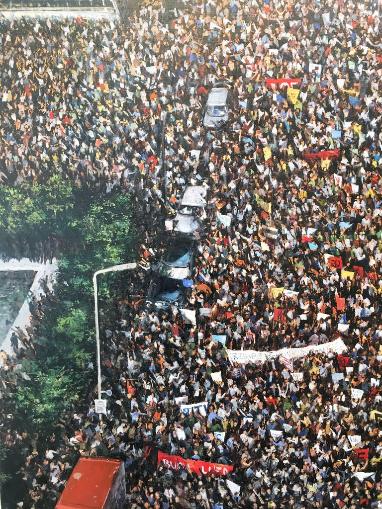 'Dissent' 2005 by American artist, Chester Arnold. Oil on canvas, 46 x 54 in. This painting presents a richly painted, aerial view of protesters circa 2005, in the midst of the Iraq crisis.   Chester Arnold embraces the craft of painting, but