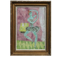 Pastel Tonal Ballerina Figurative Interior Abstract Impressionist Painting
