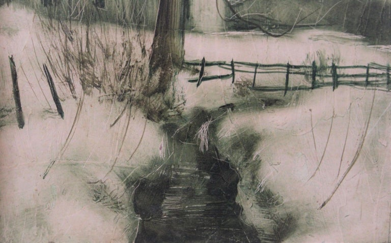 Winter Scene with a Creek - Naturalistic Painting by Chester Dixon Snowden