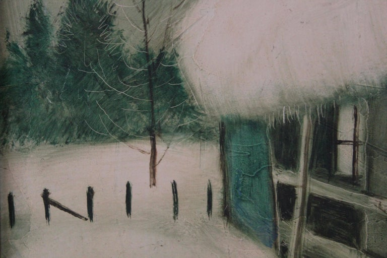 Winter Scene with a House - Painting by Chester Dixon Snowden