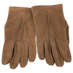 CHESTER JEFFRIES Size M Light Brown Matte Leather Cashmere Lined Gloves