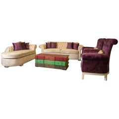 Chester Purple/Beige Living Room '4 Pieces', 20th Century