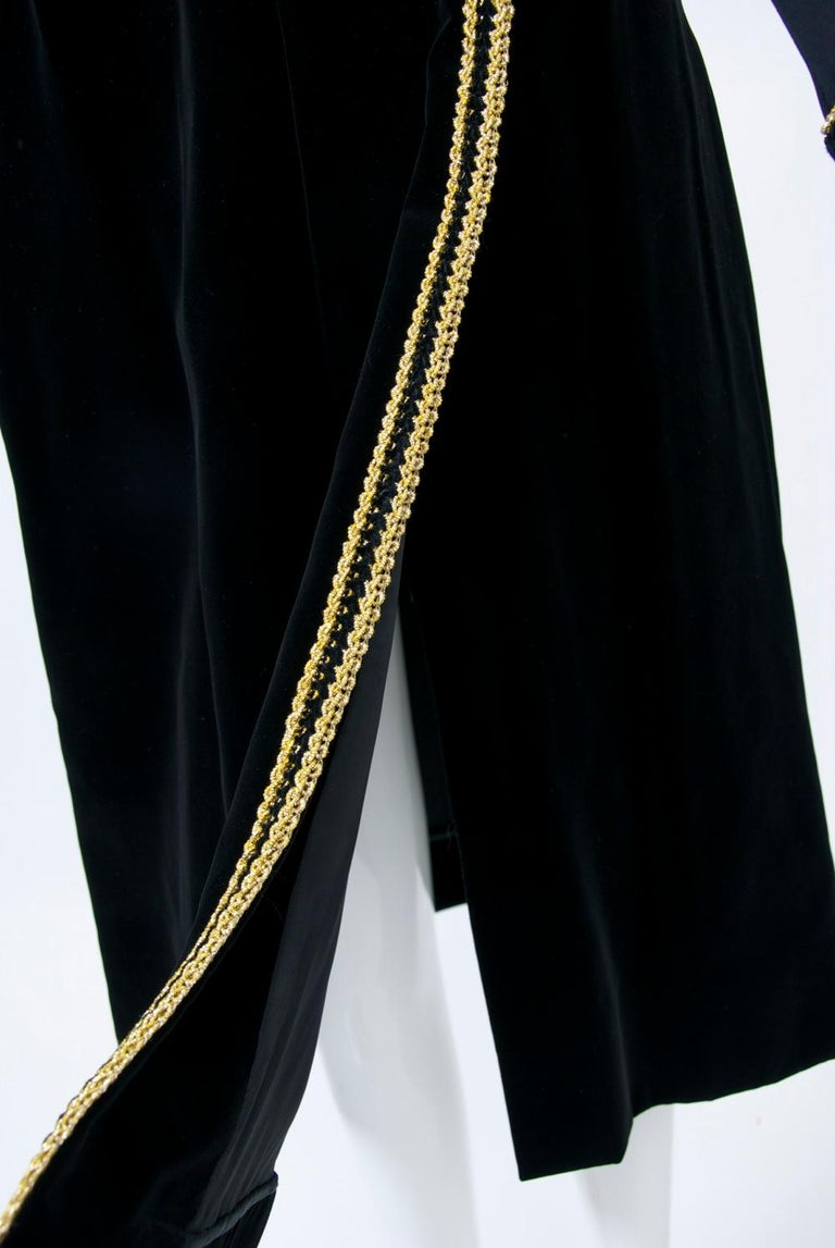 Chester Weinberg 1970s Black Jersey and Velvet Dress In Excellent Condition For Sale In Alford, MA