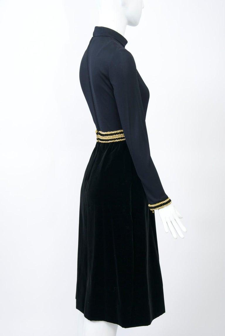 Women's Chester Weinberg 1970s Black Jersey and Velvet Dress For Sale