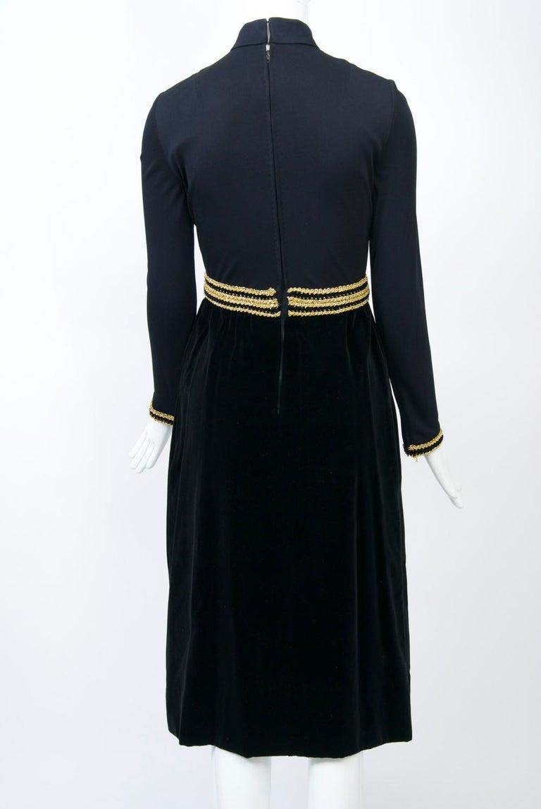 Chester Weinberg 1970s Black Jersey and Velvet Dress For Sale 1