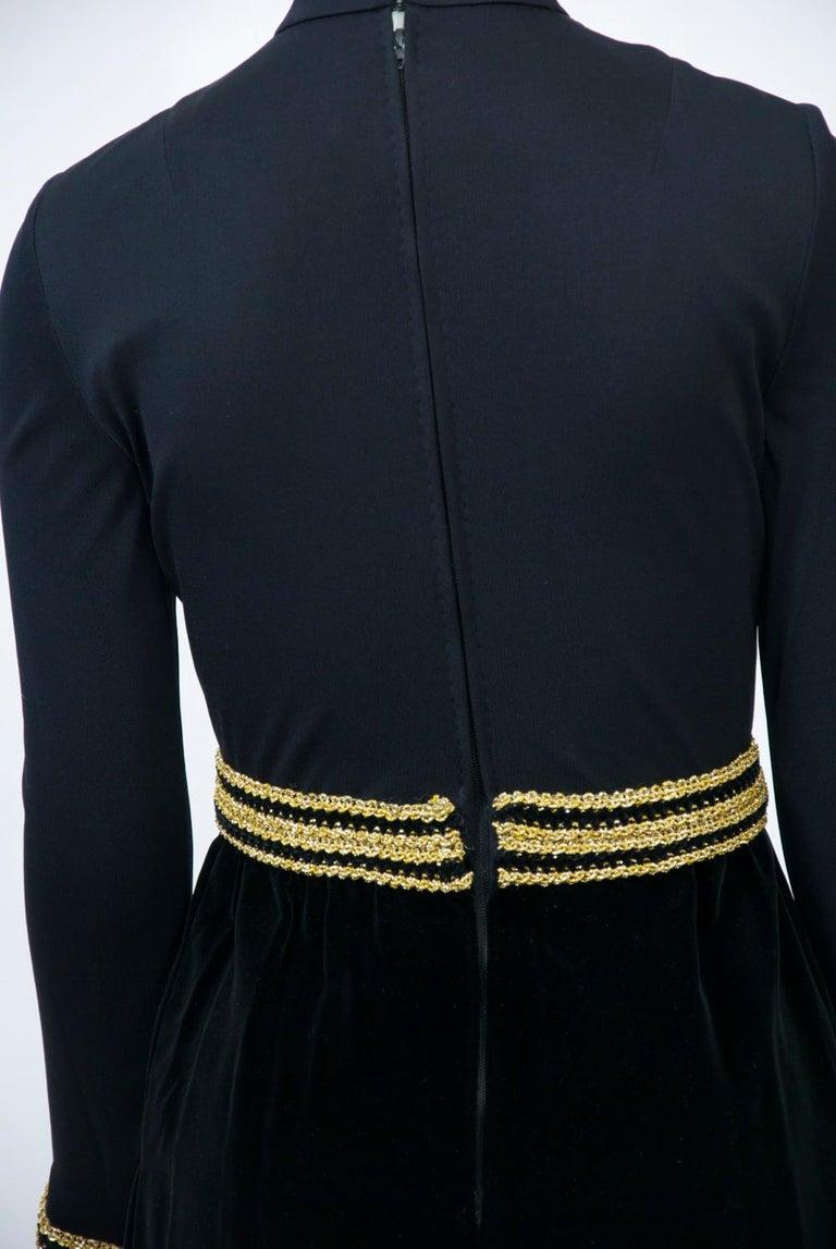 Chester Weinberg 1970s Black Jersey and Velvet Dress For Sale 2