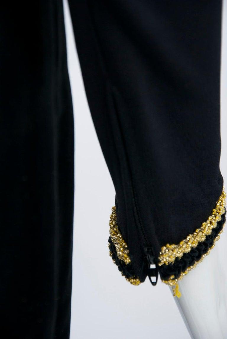 Chester Weinberg 1970s Black Jersey and Velvet Dress For Sale 3