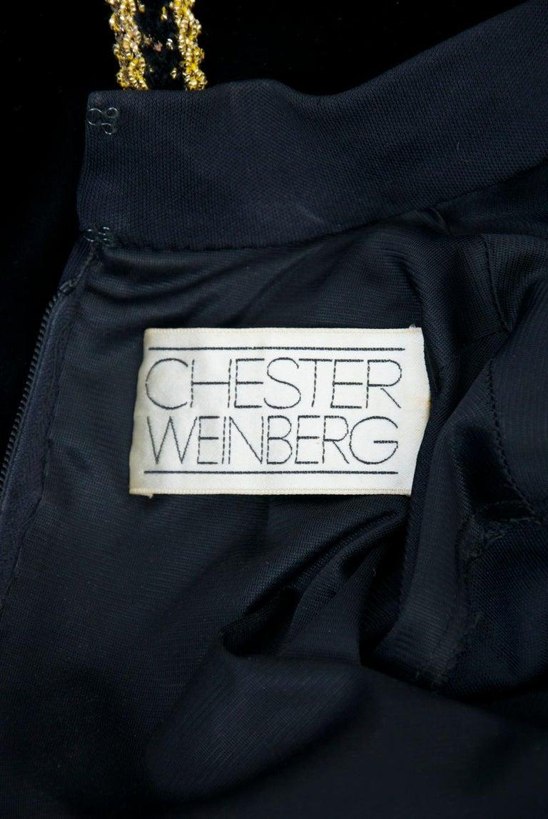 Chester Weinberg 1970s Black Jersey and Velvet Dress For Sale 4