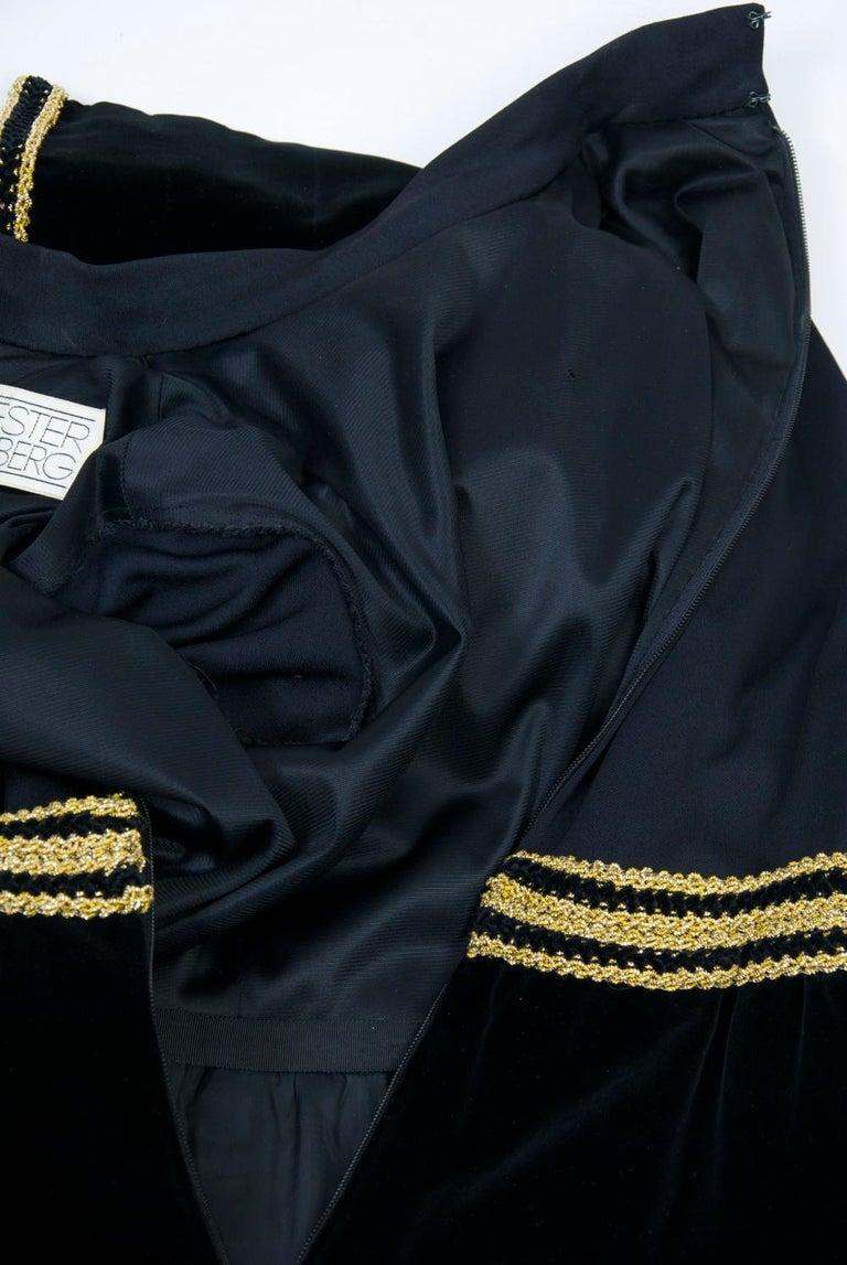 Chester Weinberg 1970s Black Jersey and Velvet Dress For Sale 5