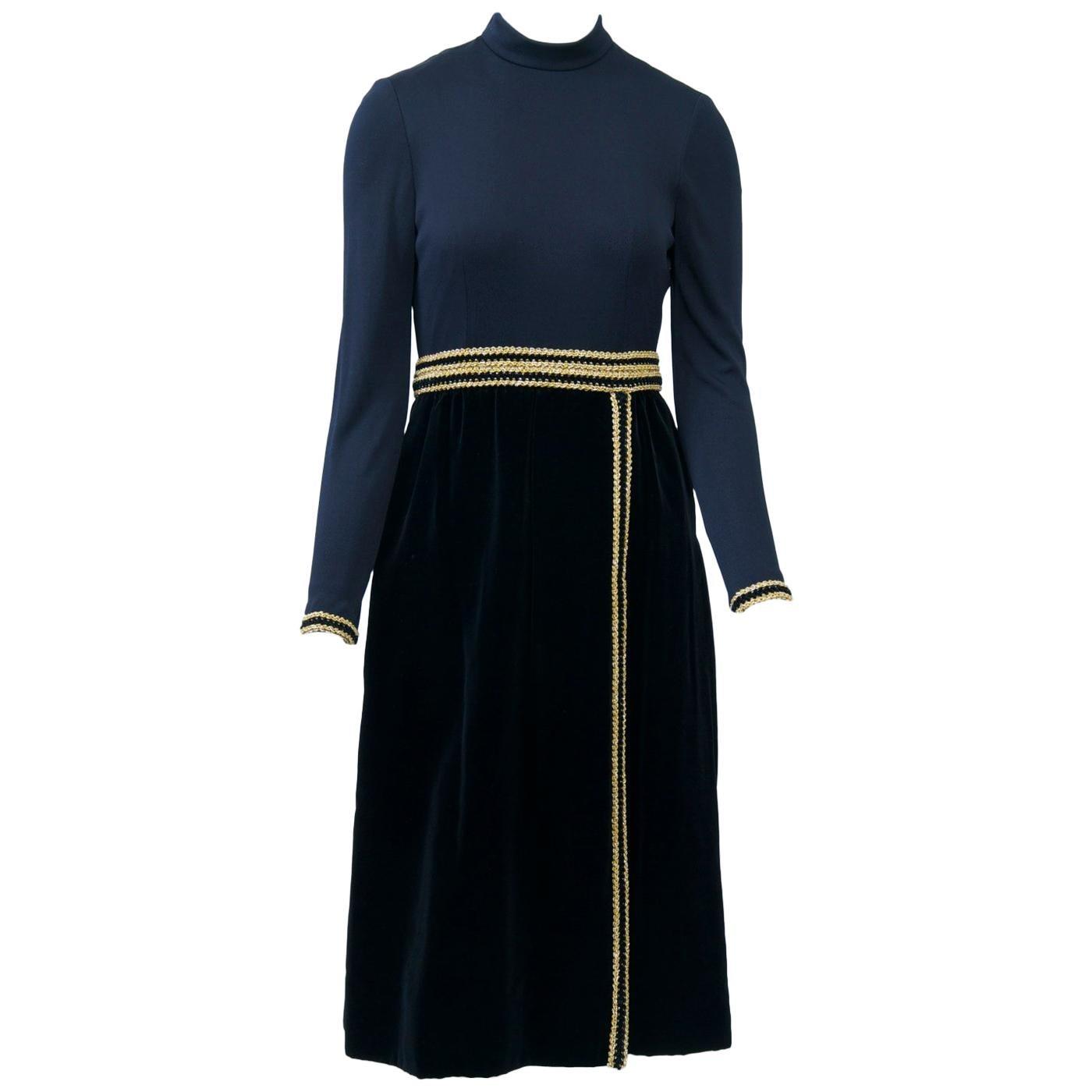 Chester Weinberg 1970s Black Jersey and Velvet Dress