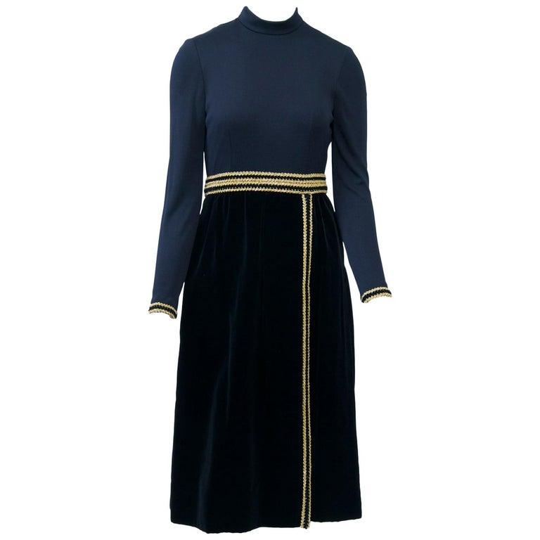 Chester Weinberg 1970s Black Jersey and Velvet Dress For Sale