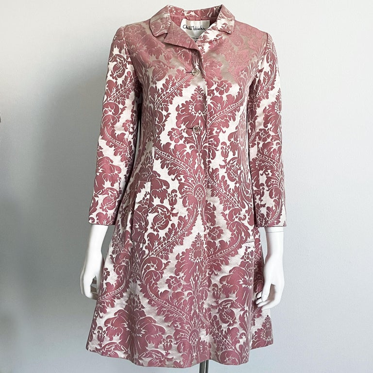 Vintage 60s Chester Weinberg Damask Coat Dress, originally sold by The Oval Room at Dayton's.  Lovely pink floral pattern, gorgeous sheen to the fabric.  Mod silhouette/fully-lined in pink silk/dry clean recommended/slips over head, fastens at chest