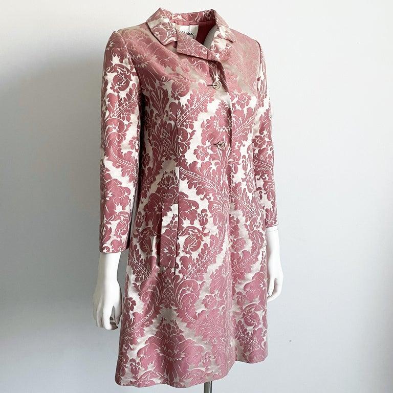 Brown Chester Weinberg Damask Dress Pink Floral Oval Room at Dayton's 60s Vintage For Sale