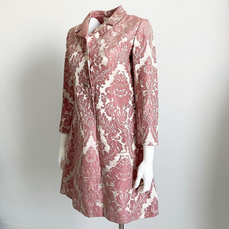 Women's Chester Weinberg Damask Dress Pink Floral Oval Room at Dayton's 60s Vintage For Sale