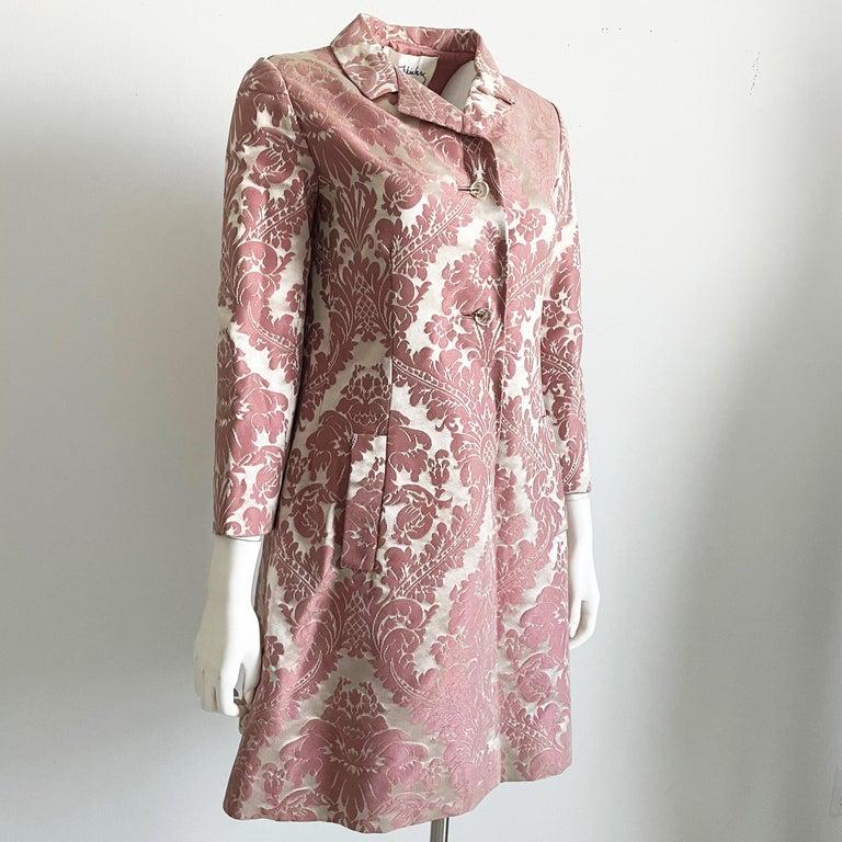 Chester Weinberg Damask Dress Pink Floral Oval Room at Dayton's 60s Vintage For Sale 1