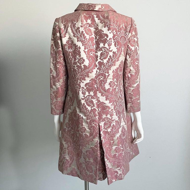 Chester Weinberg Damask Dress Pink Floral Oval Room at Dayton's 60s Vintage For Sale 2