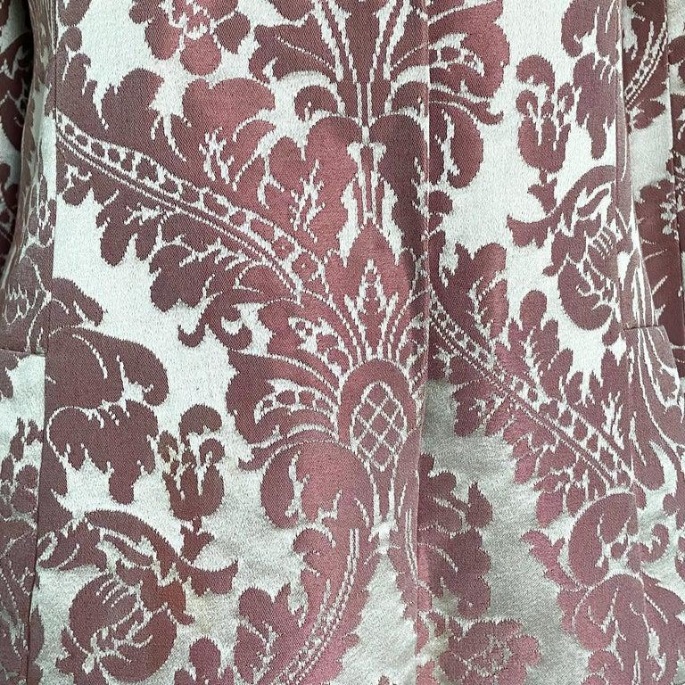 Chester Weinberg Damask Dress Pink Floral Oval Room at Dayton's 60s Vintage For Sale 3