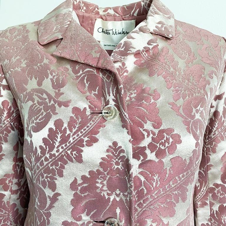 Chester Weinberg Damask Dress Pink Floral Oval Room at Dayton's 60s Vintage For Sale 4