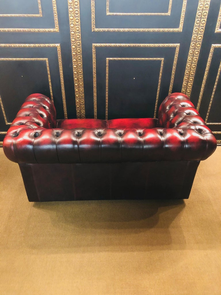 Chesterfield 2-Seat Set Centurion Genuine Leather Oxblood, England 6
