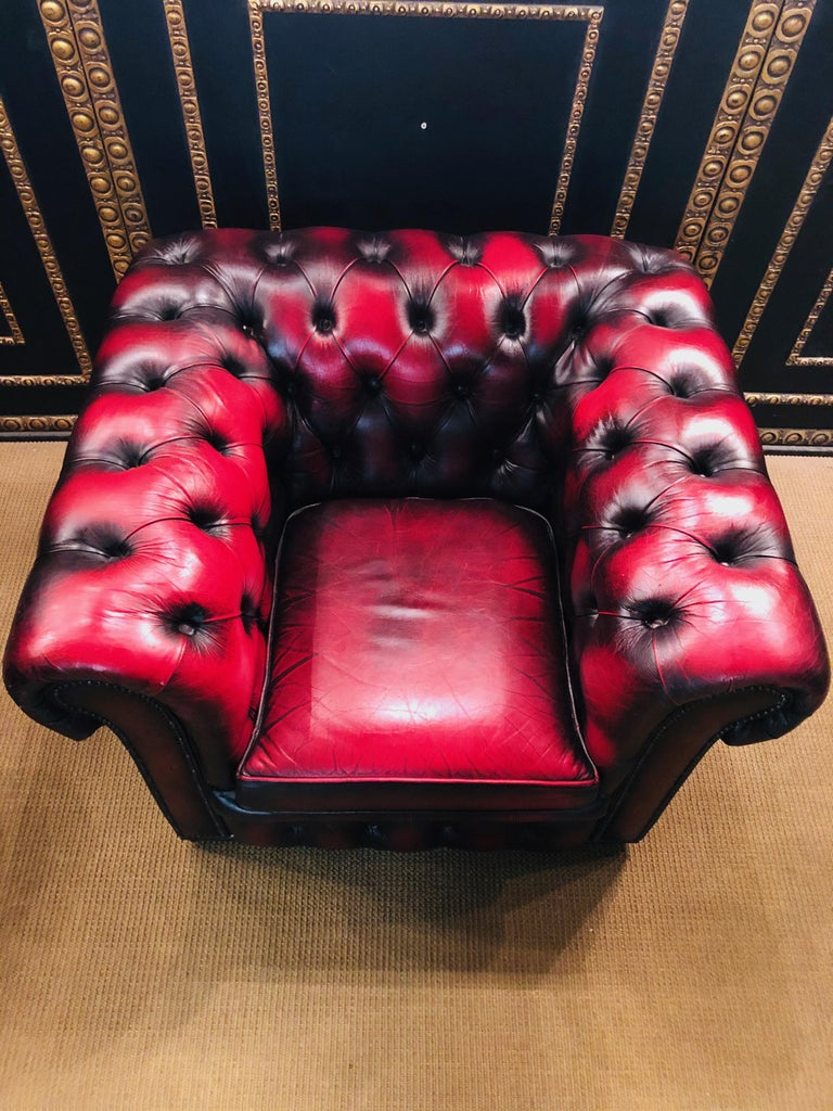 Chesterfield 2-Seat Set Centurion Genuine Leather Oxblood, England 7