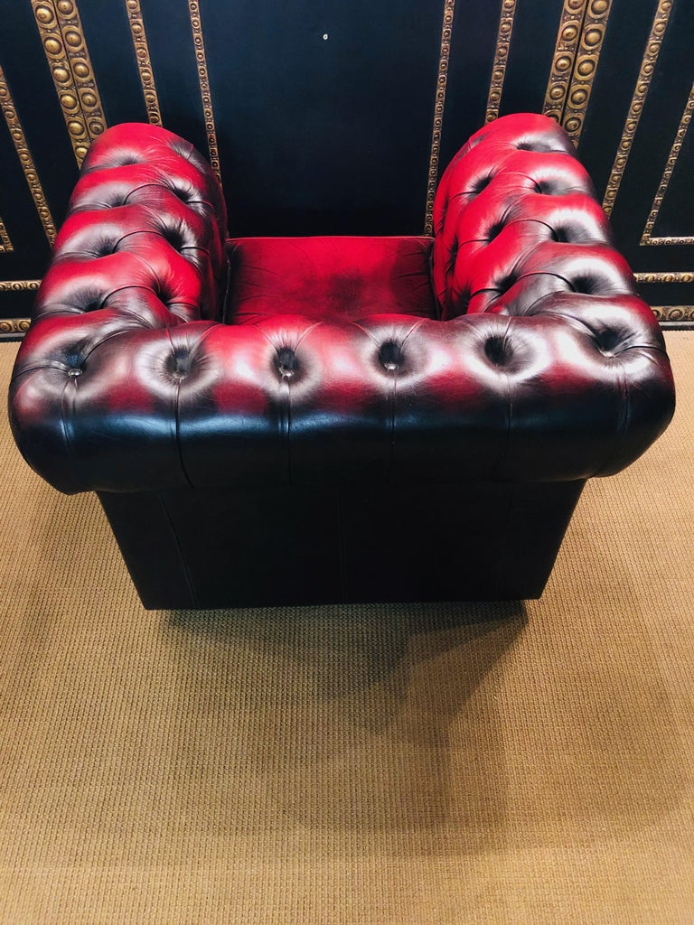 Chesterfield 2-Seat Set Centurion Genuine Leather Oxblood, England 13