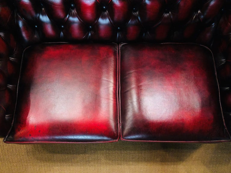20th Century Chesterfield 2-Seat Set Centurion Genuine Leather Oxblood, England