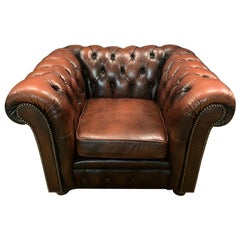 Chesterfield Armchair Genuine Leather Brown