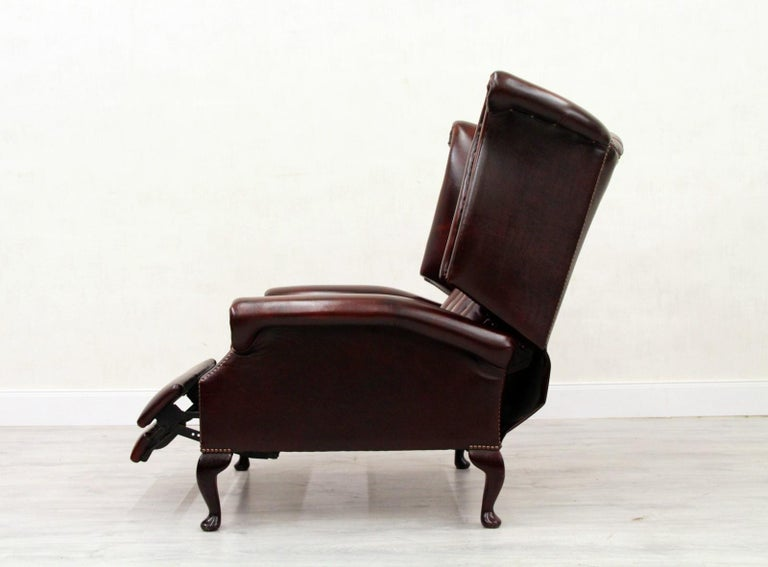 Chesterfield Armchair Leather Antique Wing Chair Recliner ...
