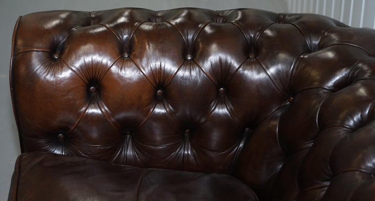 Chesterfield Brown Leather Two-Seat Sofa Coil Sprung Feather Filled Cushions  For Sale 4