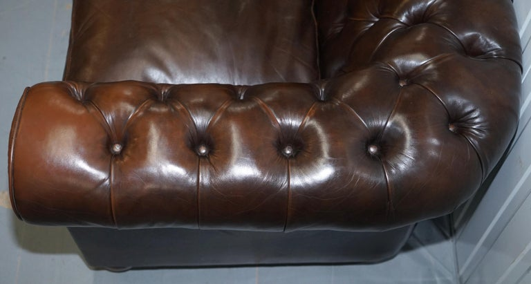 Chesterfield Brown Leather Two-Seat Sofa Coil Sprung Feather Filled Cushions  For Sale 5