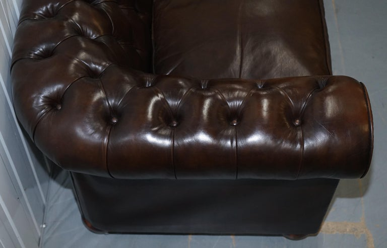 Chesterfield Brown Leather Two-Seat Sofa Coil Sprung Feather Filled Cushions  For Sale 6