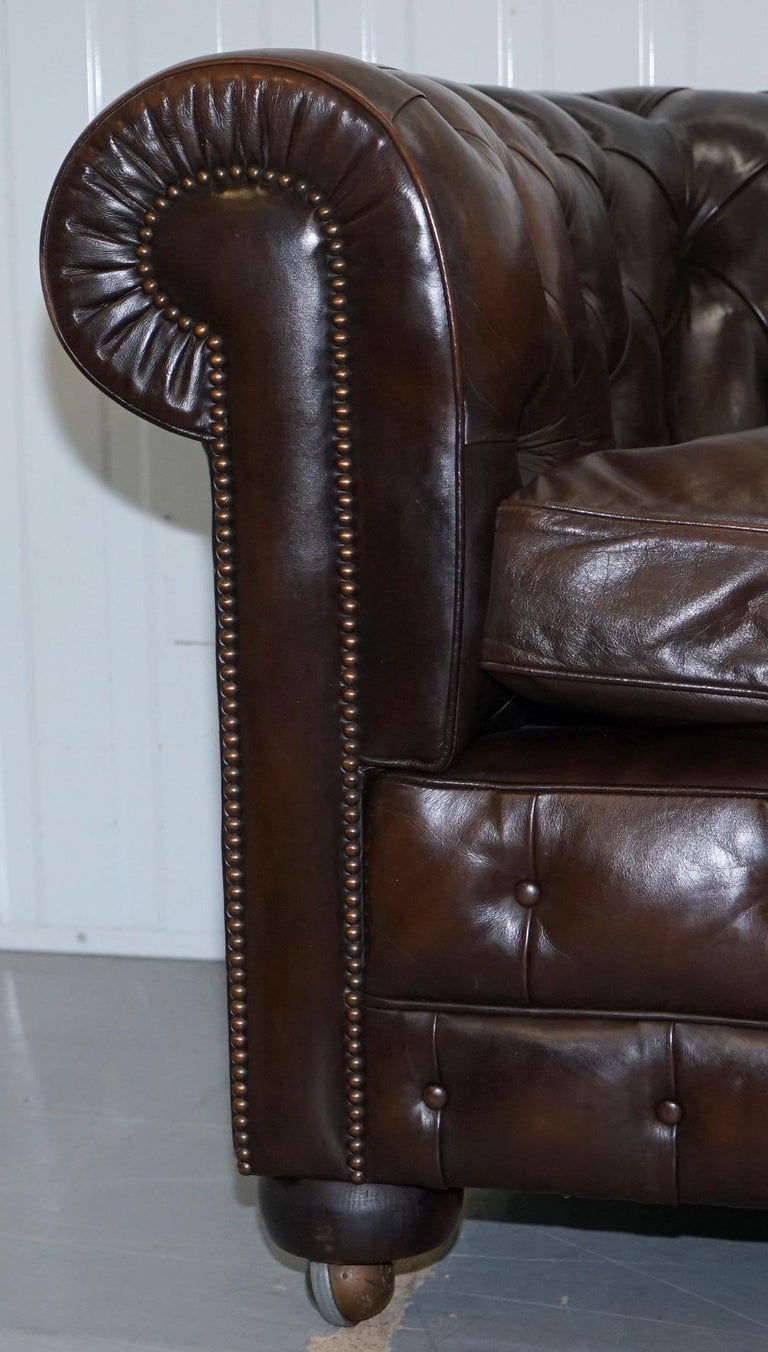 Chesterfield Brown Leather Two-Seat Sofa Coil Sprung Feather Filled Cushions  For Sale 7