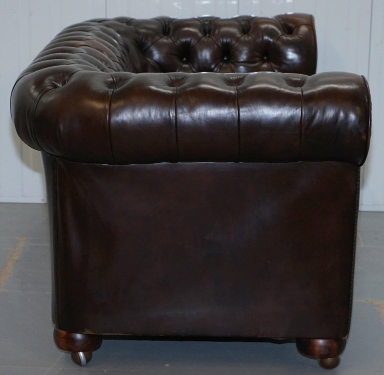 Chesterfield Brown Leather Two-Seat Sofa Coil Sprung Feather Filled Cushions  For Sale 10