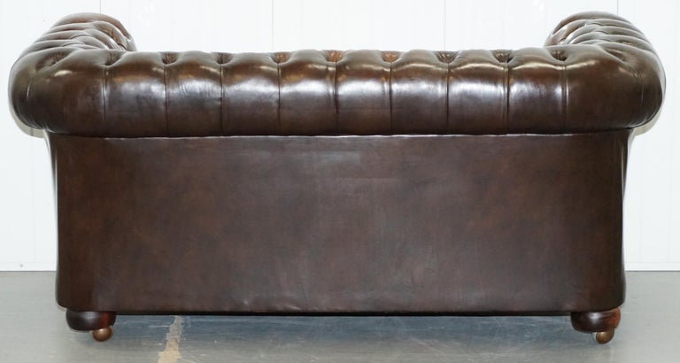 Chesterfield Brown Leather Two-Seat Sofa Coil Sprung Feather Filled Cushions  For Sale 11
