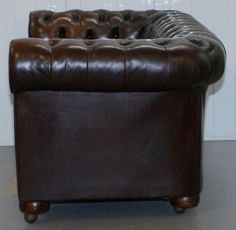 Chesterfield Brown Leather Two-Seat Sofa Coil Sprung Feather Filled Cushions  For Sale 12