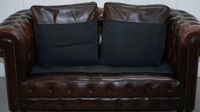 Chesterfield Brown Leather Two-Seat Sofa Coil Sprung Feather Filled Cushions  For Sale 13